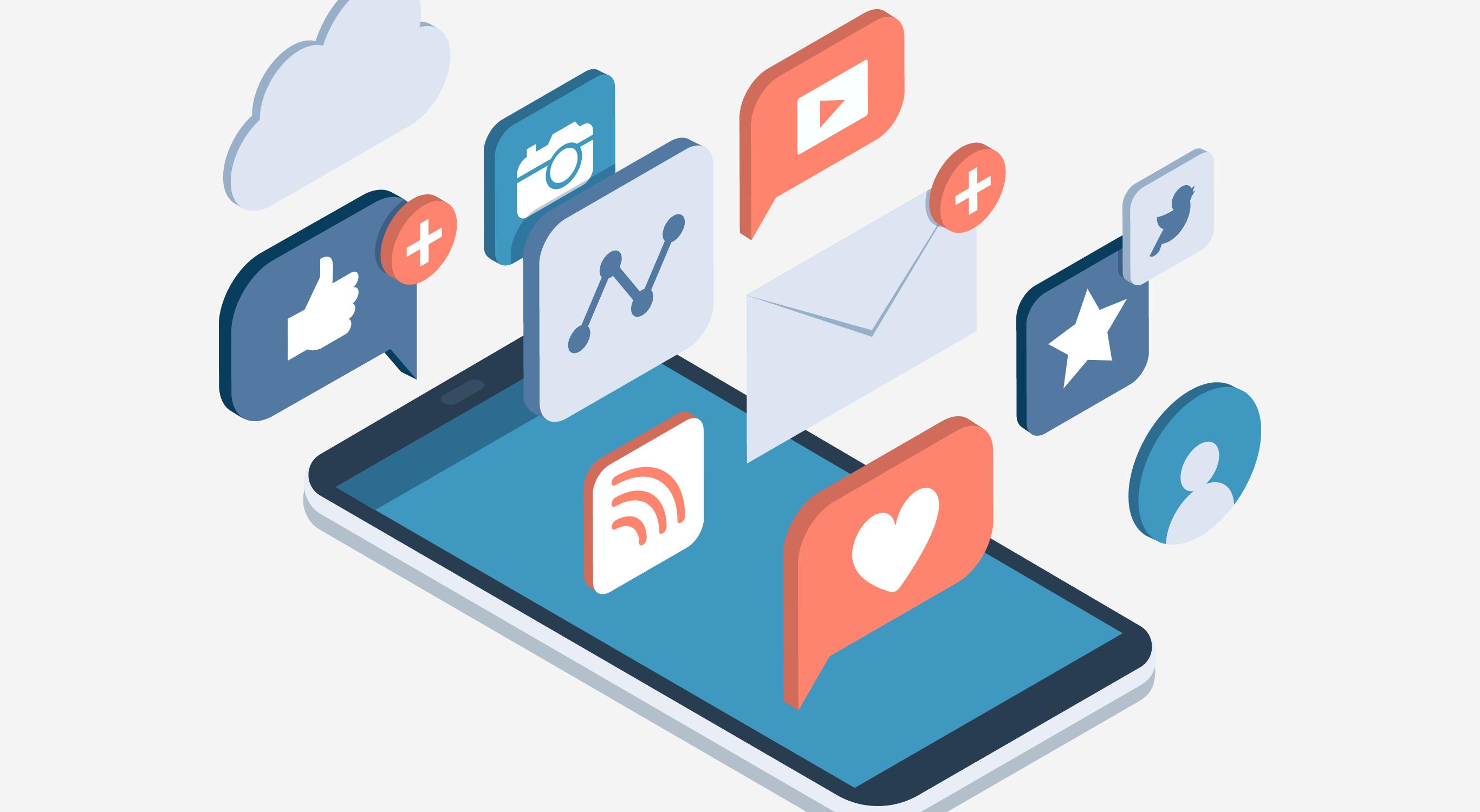 illustration of social media apps over phone