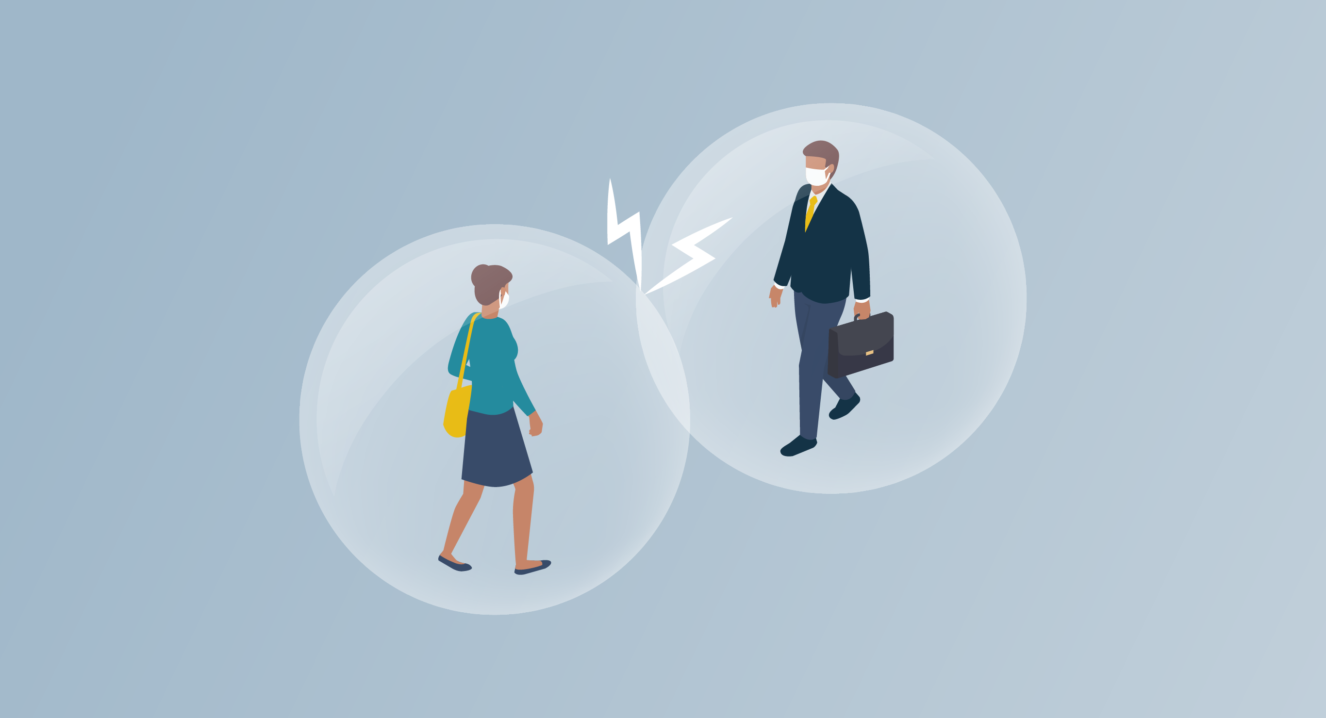 illustration showing two people in bubbles to signify social distance